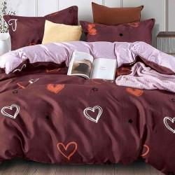 Lenjerie de pat 2 persoane Bumbac Satinat Nocturn Heart