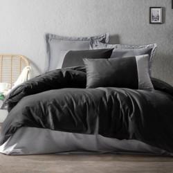 Lenjerie de pat 2 persoane Bumbac 100% Negru-Gri Cottonbox