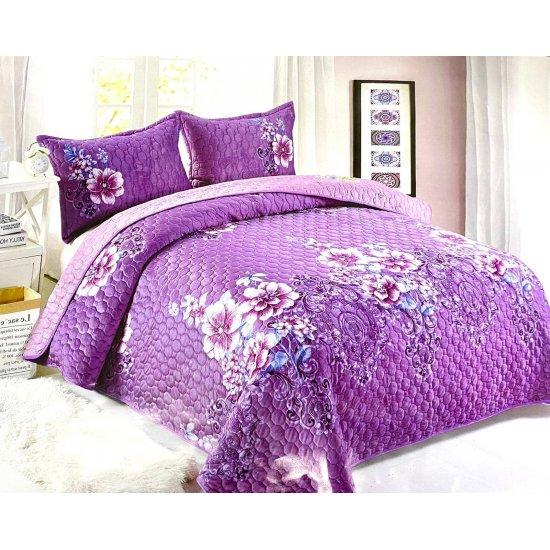 Cuvertura pat 2 persoane din  Catifea + 2 fete perna Violeta