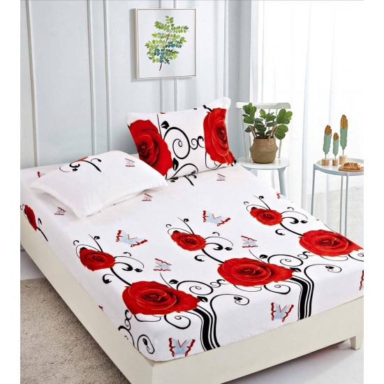 Cearsaf de pat  cu elastic + 2 fete de perna   Cocolino - Roses Life