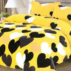Lenjerie de pat 2 persoane Cocolino Yellow Heart
