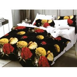 Oferta 1+1 Lenjerie 2 Persoane 6 Piese Finet Black Flowers T1703