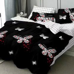 Oferta 1+1 Lenjerie 2 Persoane 6 Piese Finet Black Heart Butterflies T1747