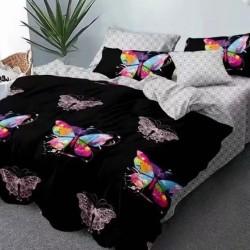 Oferta 1+1 Lenjerie 2 Persoane 6 Piese Finet Black Rainbow Butterflies T1746