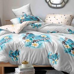 Oferta 1+1 Lenjerie 2 Persoane 6 Piese Finet Blue Butterflies T1672