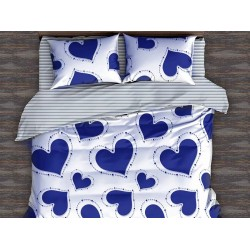 Oferta 1+1 Lenjerie 2 Persoane 6 Piese Finet Blue Hearts T1688