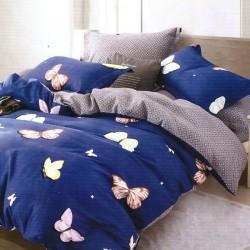 Oferta 1+1 Lenjerie 2 Persoane 6 Piese Finet Blue Sky Butterflies T1716