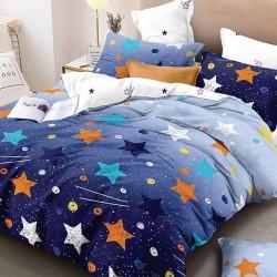 Oferta 1+1 Lenjerie 2 Persoane 6 Piese Finet Blue Stars T1671