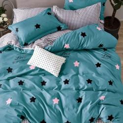 Oferta 1+1 Lenjerie 2 Persoane 6 Piese Finet Blue Stars T1741