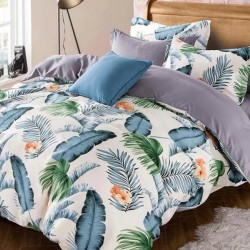 Oferta 1+1 Lenjerie 2 Persoane 6 Piese Finet Blue Tropical Leaves T1731