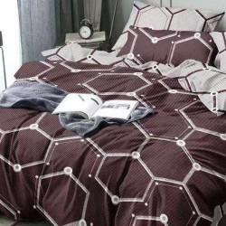 Oferta 1+1 Lenjerie 2 Persoane 6 Piese Finet Brown Geometric Hexagonal T1700