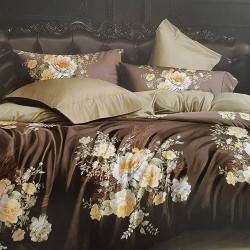 Oferta 1+1 Lenjerie 2 Persoane 6 Piese Finet Brown Roses T1736
