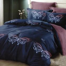 Oferta 1+1 Lenjerie 2 Persoane 6 Piese Finet Dark Blue Butterflies T1684