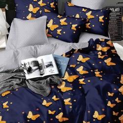 Oferta 1+1 Lenjerie 2 Persoane 6 Piese Finet Dark Blue Butterflies T1734