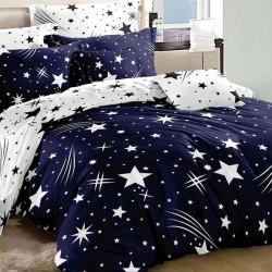 Oferta 1+1 Lenjerie 2 Persoane 6 Piese Finet Dark Blue Star Comets T1680