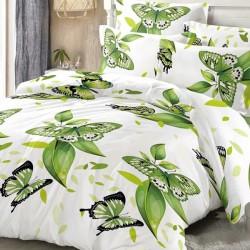 Oferta 1+1 Lenjerie 2 Persoane 6 Piese Finet Green Butterflies T1753