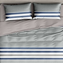 Oferta 1+1 Lenjerie 2 Persoane 6 Piese Finet Grey Blue Stripes Dungi T1712