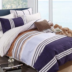 Oferta 1+1 Lenjerie 2 Persoane 6 Piese Finet Grey Blue Stripes Dungi T1730