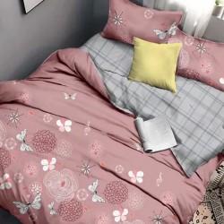Oferta 1+1 Lenjerie 2 Persoane 6 Piese Finet Grey Pink Butterflies T1709