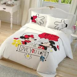 Lenjerie de Pat 2 Persoana / Copii cu Elastic Bumbac 100% Mickey Mouse Love T0633