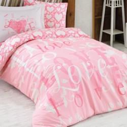 Lenjerie de Pat 1 Persoana pentru Copii Bumbac 100% Pink Love T0627
