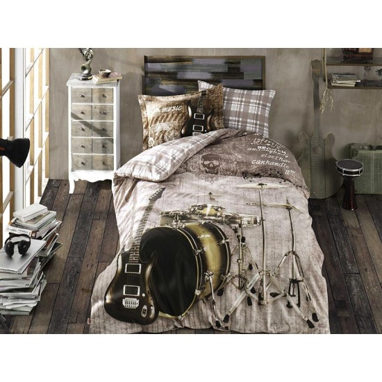 Lenjerie de Pat 1 Persoana pentru Copii Bumbac 100% Rock Music T0625