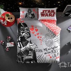 Lenjerie de Pat 2 Persoana pentru Copii Bumbac 100% Star Wars Hearts T0632