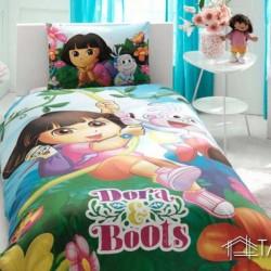 Lenjerie de Pat pentru Copii Bumbac 100% Dora and Boots T0602