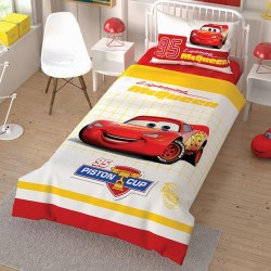 Lenjerie de Pat cu Elastic pentru Copii Cars Lightning McQueen Bumbac 100% T0585
