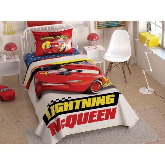 Lenjerie de Pat pentru Copii cu Elastic si Cuvertura Lightning McQueen Bumbac 100% T0560