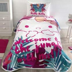 Lenjerie de Pat cu Elastic si Cuvertura pentru Copii Hello Kitty Bumbac 100% T0574