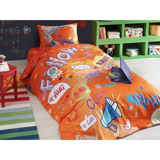 Lenjerie de Pat 1 Persoana Copii cu Elastic Bumbac 100% Tac Blogger Orange T1766