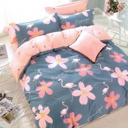 Lenjerie de Pat Pucioasa 2 Persoane Bumbac Creponat Flowers Flamingo T1290