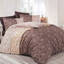 Lenjerie de Pat Clasy 2 Persoane Bumbac 100% Satin Deluxe Brown T1320