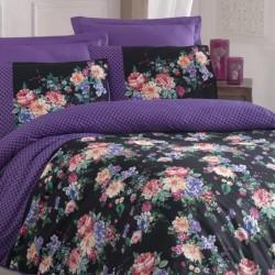Lenjerie de Pat Cottonbox 2 Persoane Bumbac 100% Satin Deluxe Purple Flowers T1299