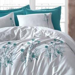 Lenjerie de pat 2 persoane Bumbac Satinat 3D Turquoise Flower