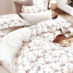 Lenjerie de pat pentru 2 persoane,Bumbac creponat, Pucioasa Pink Flower