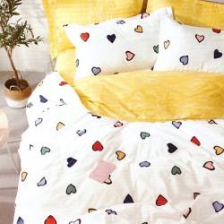 Lenjerie de pat pentru 2 persoane,Bumbac creponat, Pucioasa Inimi Colorate