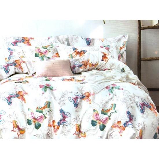 Lenjerie de pat pentru 2 persoane,Bumbac creponat, Pucioasa Butterfly