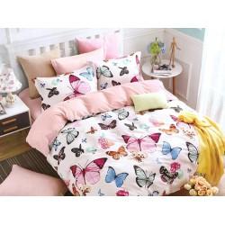 Lenjerie de pat pentru 2 persoane,Bumbac creponat, Pucioasa Pink Butterfly