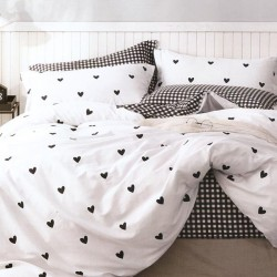 Lenjerie de pat pentru 2 persoane,Bumbac creponat, Pucioasa Classic Hearts