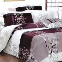 Lenjerie de pat pentru 2 persoane,Bumbac creponat, Pucioasa Elegant Violeta