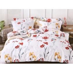 Lenjerie de pat pentru 2 persoane,Bumbac creponat, Pucioasa Elegant Flower