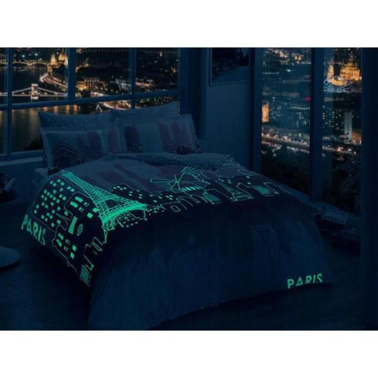 Lenjerie de Pat Fluorescenta Tac 2 Persoane Bumbac 100% Satin Deluxe Paris Roz T1512